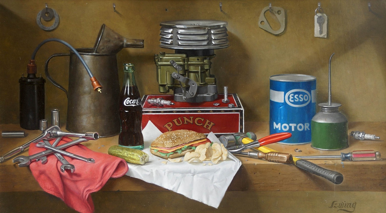 William O. Ewing ,   Lunchtime at the Car Shop      oil on wood ,  19 1/2 x 34 1/2 in. (49.5 x 87.6 cm)     WE180403