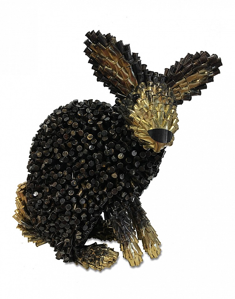 Federico Uribe ,   Black Rabbit, Gold Ears & Tail  ,  2017     Bullet Shells ,  12 x 11 x 5 1/2 in. (30.5 x 27.9 x 14 cm)     AGB2160