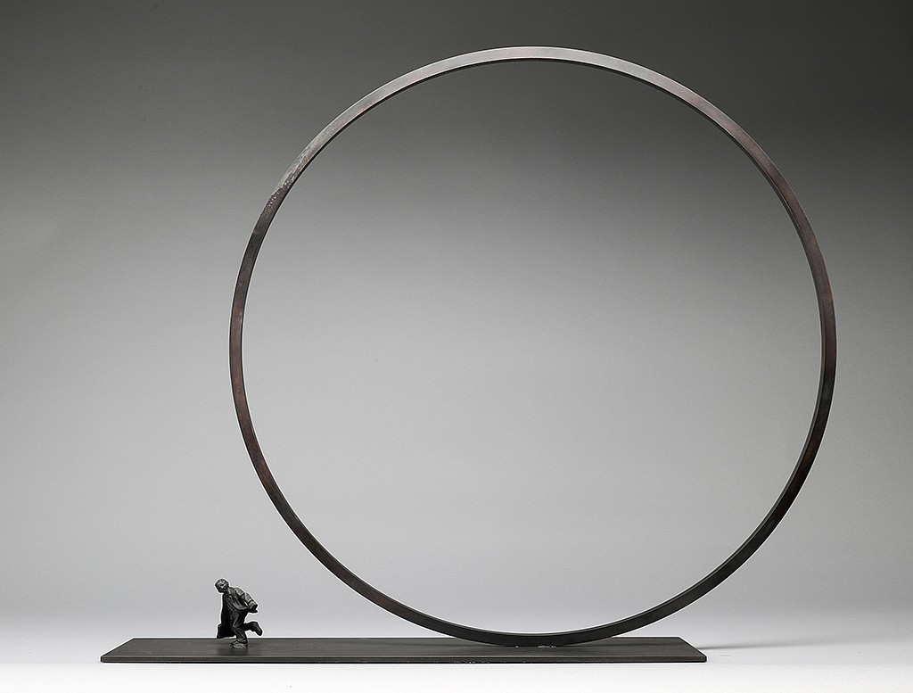 Jim Rennert, A Step Ahead, Edition of 45 2006, bronze and steel
