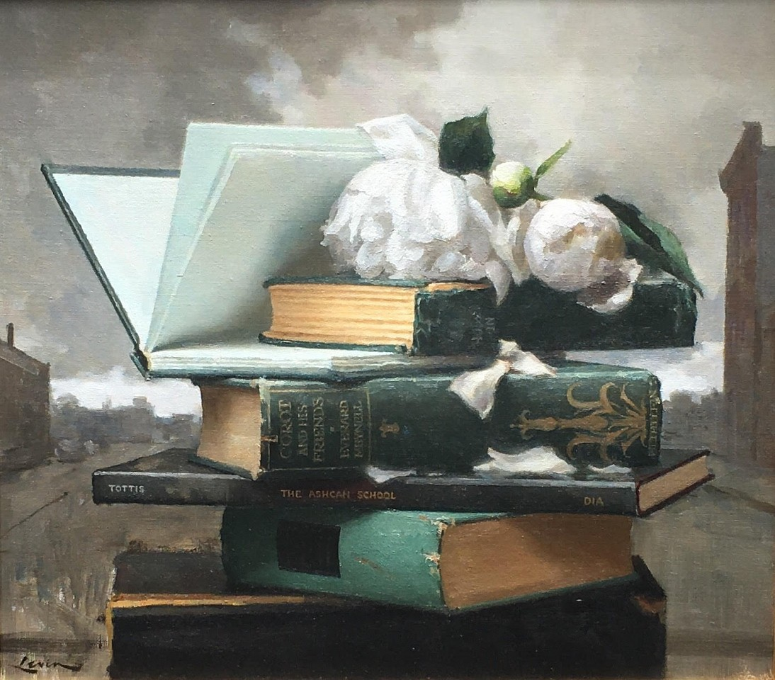 Steven J Levin ,   Books and Peonies  ,  2018     oil on canvas ,  16 x 18 in. (40.6 x 45.7 cm)     SJL180702
