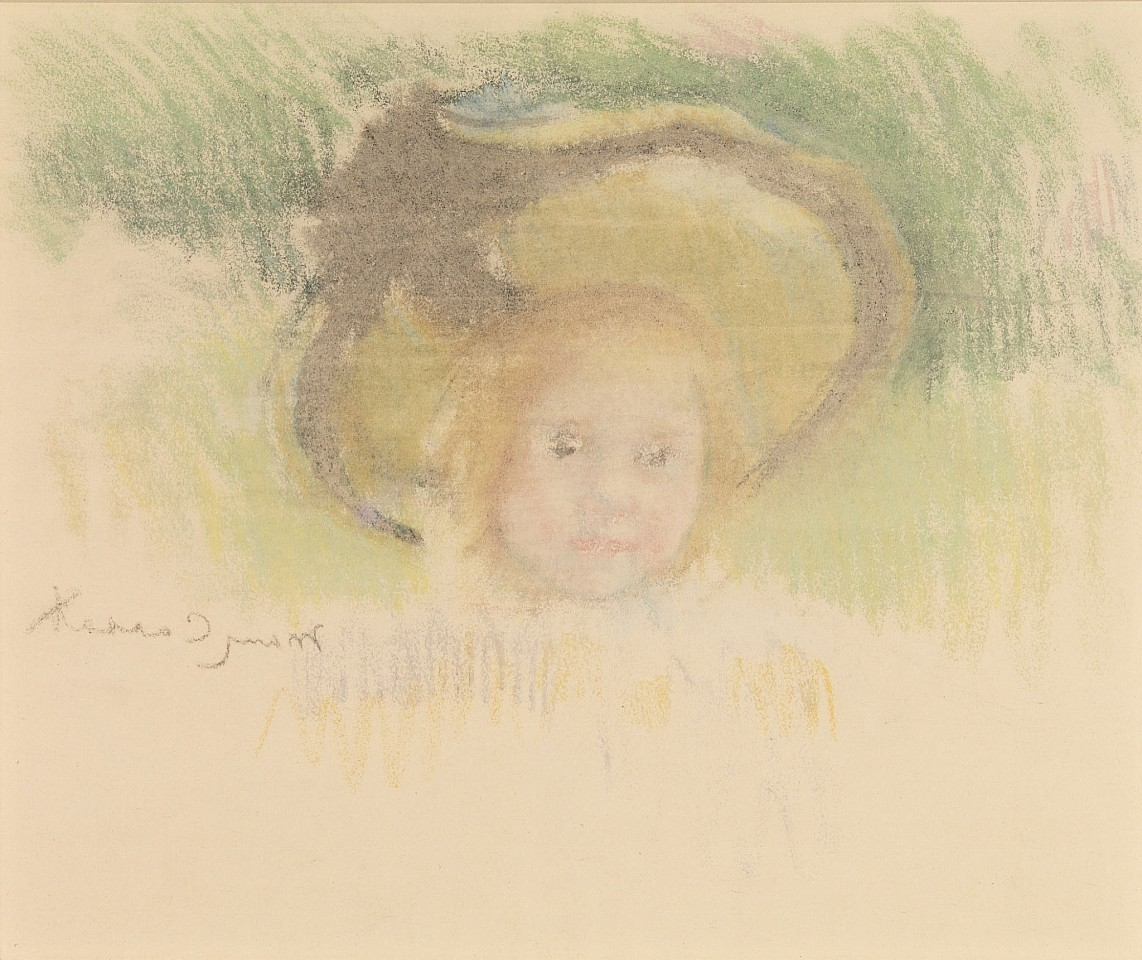 Mary Cassatt, Girl in a Hat with a Black Ribbon c. 1902, pastel counterproof on Japan paper