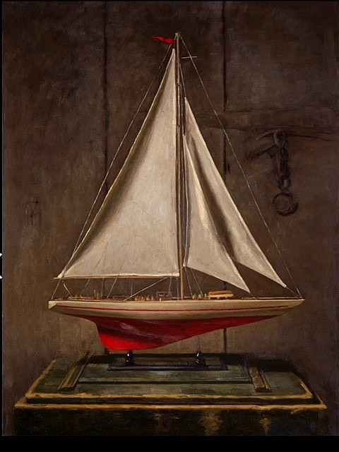 Sarah Lamb, Model Sailboat 2018, oil on linen