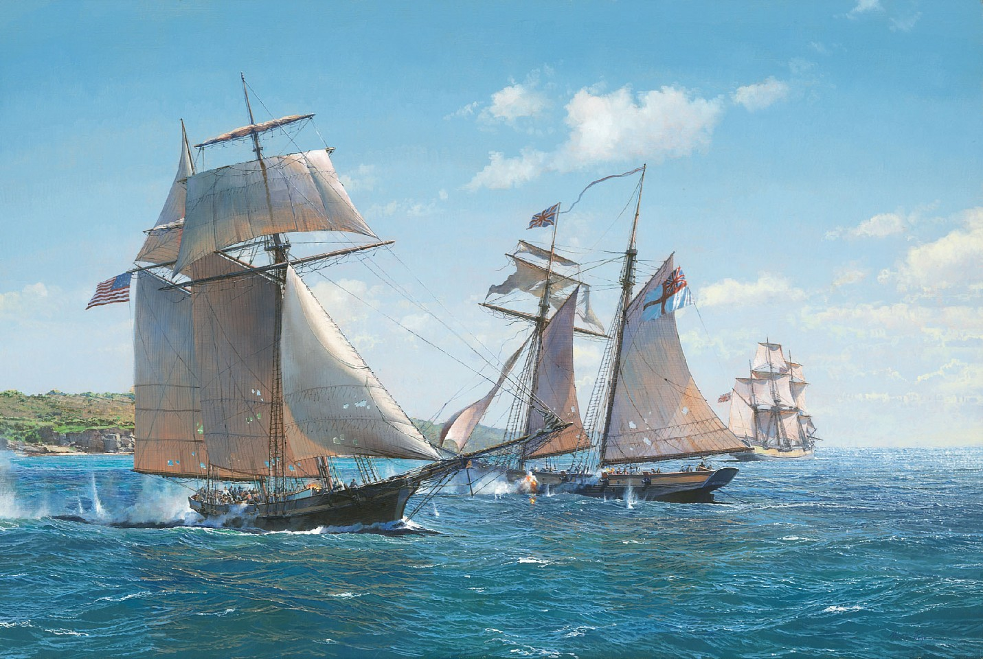 Maarten Platje ,   Victory at Bermuda, the Capture of HMS Dominica by American Privateer Decatur  ,  2018     oil on linen ,  23 5/8 x 35 7/16 in. (60 x 90 cm)     MP181013