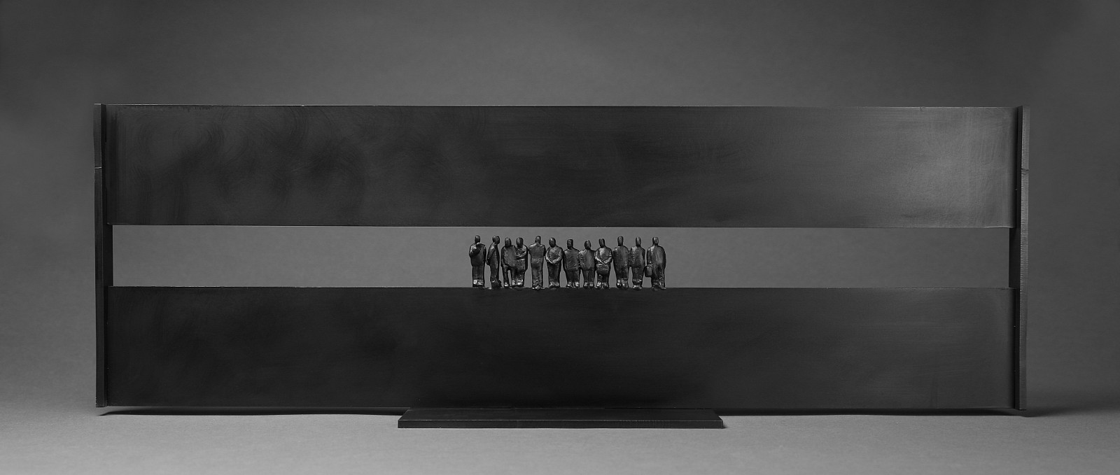 Jim Rennert ,   In Transit III, Edition of 9  ,  2018     bronze and steel ,  10 x 30 x 6 in. (25.4 x 76.2 x 15.2 cm)