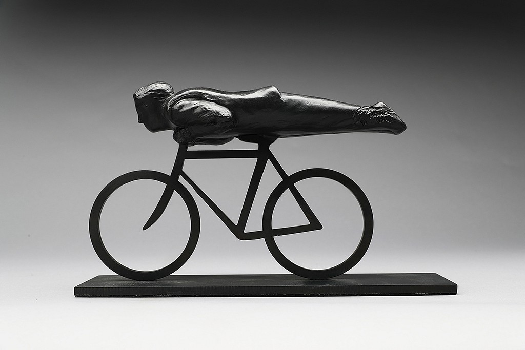Jim Rennert ,   Head First, maquette, Edition of 9  ,  2014     bronze and steel ,  6 1/2 x 11 1/4 x 3 in. (16.5 x 28.6 x 7.6 cm)     JR1712008