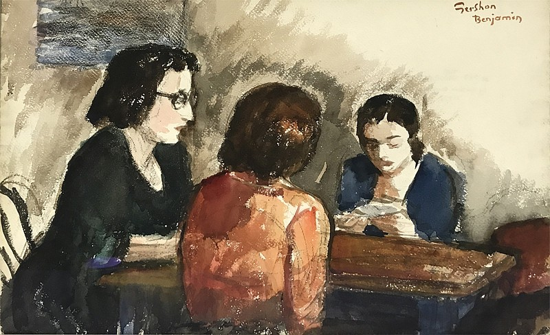 Gershon Benjamin ,   The Cardplayers II  ,  1933 ca     watercolor on paper ,  15 x 22 in. (38.1 x 55.9 cm)     GB1803023