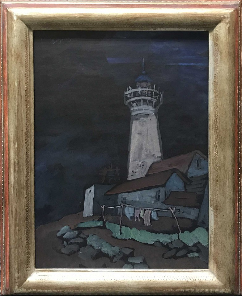 Gershon Benjamin ,   Gloucester Lighthouse  ,  1933 ca     gouache on black paper ,  18 1/4 x 12 1/4 in. (46.4 x 31.1 cm)     GB1803052