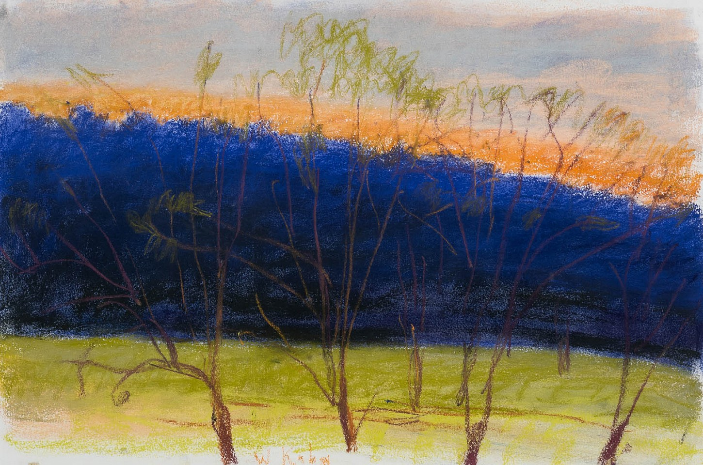 Wolf Kahn ,   Evening Breeze  ,  c. 1998     pastel on paper ,  15 x 22 in. (38.1 x 55.9 cm)     WK190201
