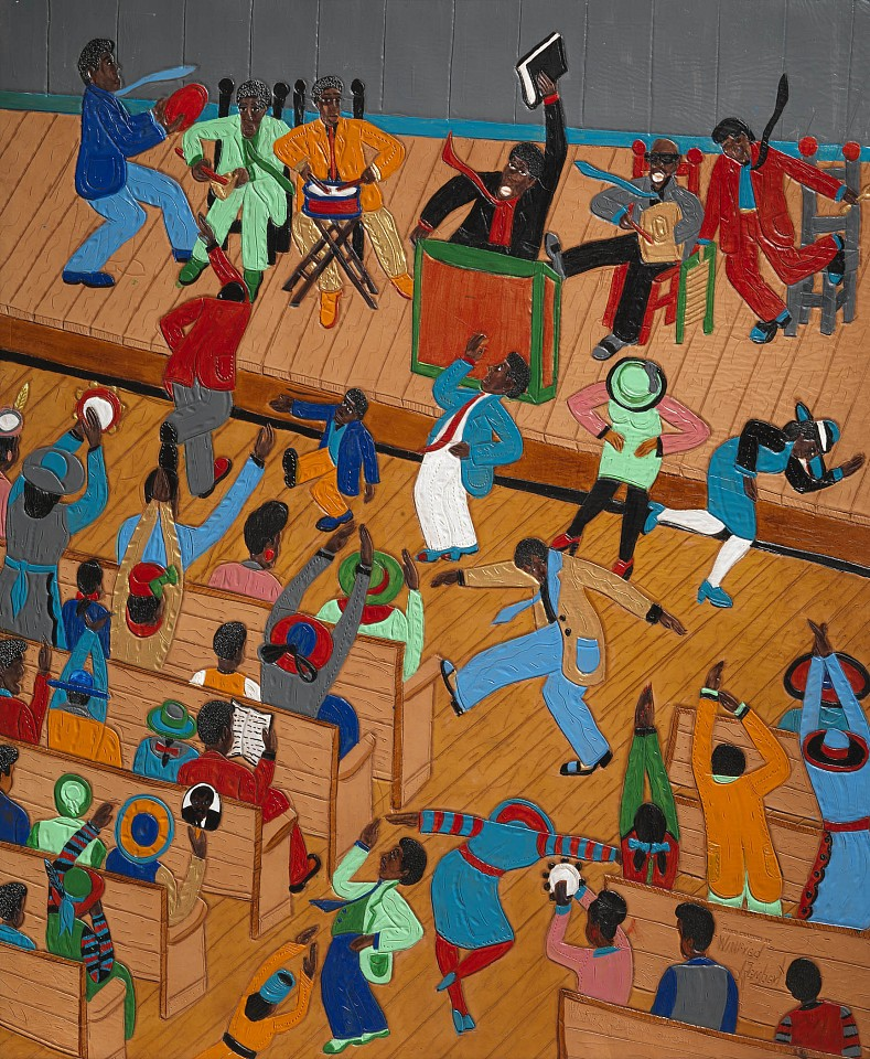 Winfred Rembert ,   Rocking In Church  ,  2011     Dye on carved and tooled leather ,  33 1/2 x 27 1/2 in. (85.1 x 69.8 cm)     WR190229