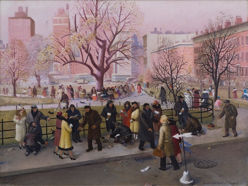 Blendon Reed Campbell ,   Washington Square, New York  ,  1936     oil on canvas ,  30 1/8 x 40 1/4 in. (76.5 x 102.2 cm)     BRC190301