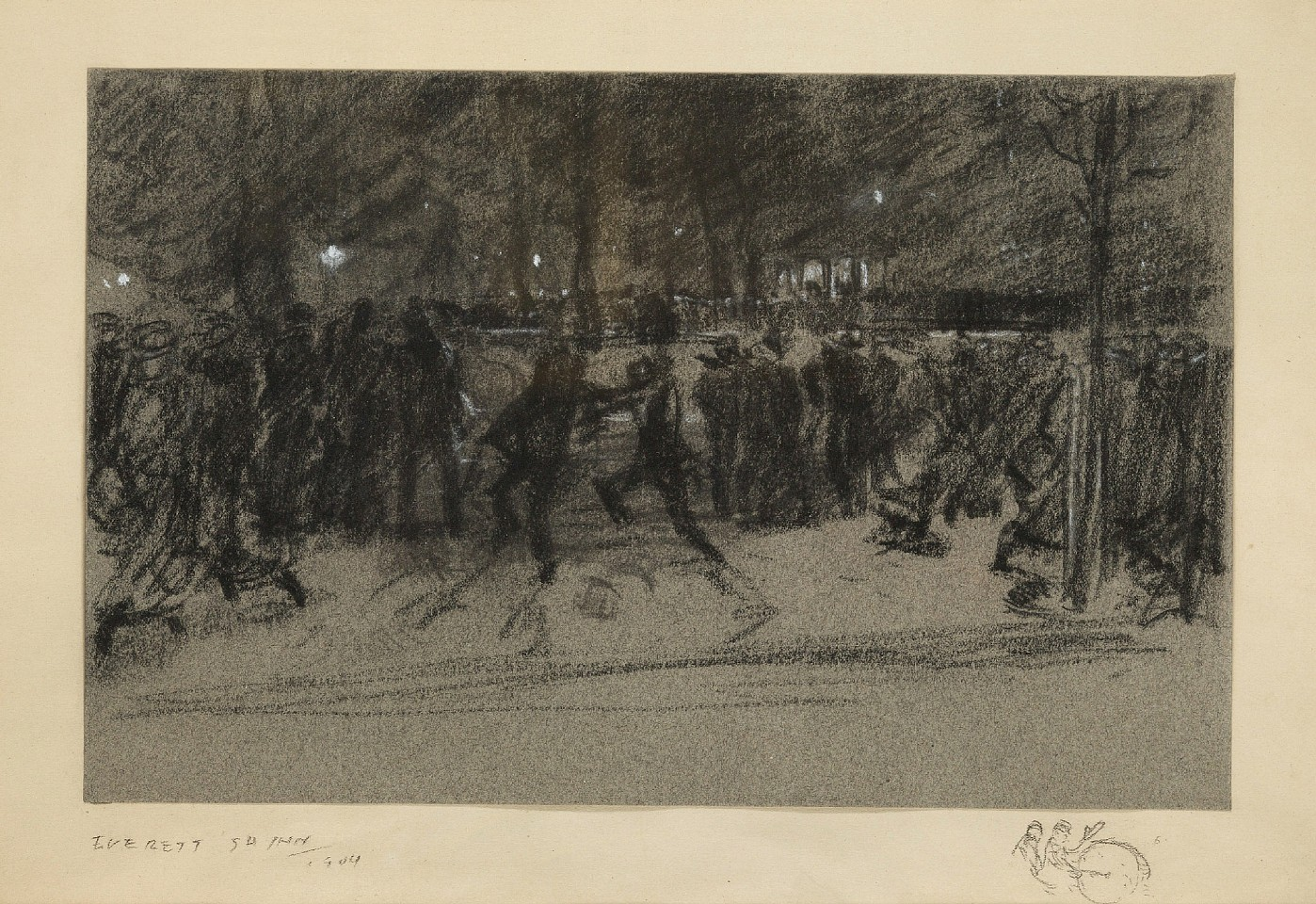 Everett Shinn ,   The Band, Washington Square  ,  1904     Charcoal & chinese white on gray paper- mounted on paper ,  8 1/2 x 13 1/4 in. (21.6 x 33.7 cm)     ES190401