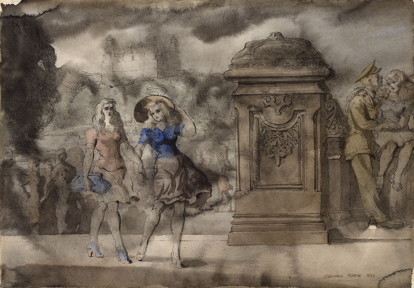 Reginald Marsh ,   Walking in the Park  ,  1943     Chinese ink and watercolor on paper ,  14 x 19 15/16 in. (35.6 x 50.6 cm)     RM190401