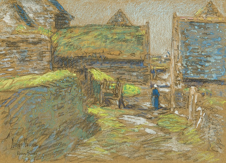 Childe Hassam ,   Brittany Barns, Perros-Guirec      Chalk, watercolor, and gouache on paper ,  7 7/8 x 11 in. (20 x 27.9 cm)     CH190403