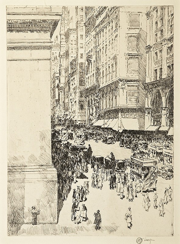Childe Hassam ,   Fifth Avenue, Noon  ,  1916     etching ,  9 7/8 x 7 1/8 in. (25.1 x 18.1 cm)     CH190405