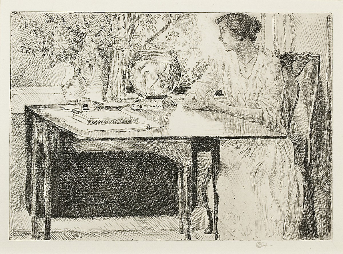 Childe Hassam ,   The Colonial Table  ,  1915     etching ,  6 7/8 x 9 7/8 in. (17.5 x 25.1 cm)     CH190404