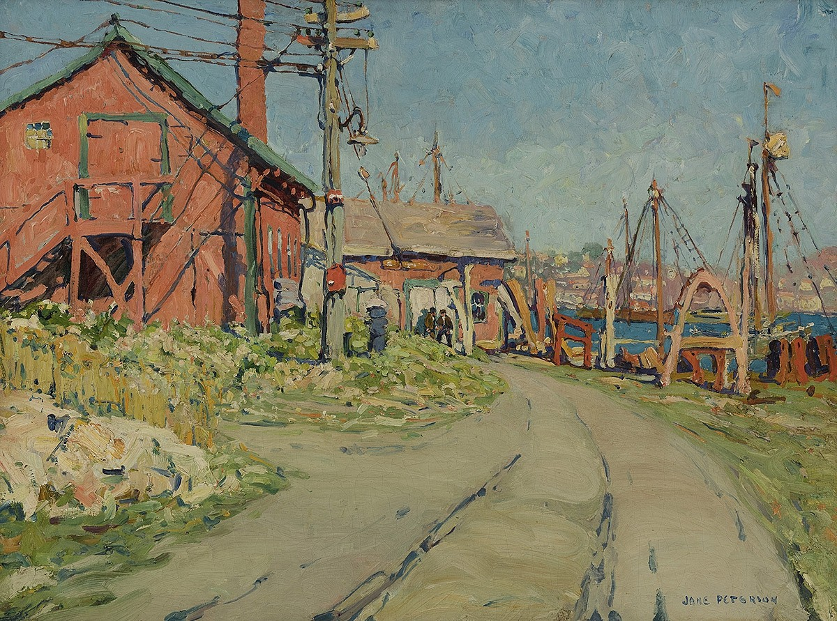 Jane Peterson ,   Gloucester Harbor Scene (The Red House)  ,  c. 1915-16     oil on canvas ,  30 x 40 in. (76.2 x 101.6 cm)     JP190401