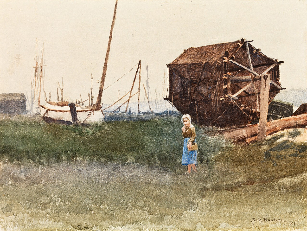 Dennis Miller Bunker ,   The Fisher Girl, Nantucket  ,  1881     watercolor on paper ,  9 1/4 x 12 1/2 in. (23.5 x 31.8 cm)     DB190401