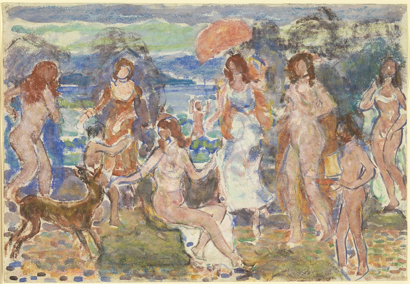 Maurice Prendergast ,   Distance Hills, Maine  ,  c. 1912-15     watercolor, pastel and pencil on paper ,  13 3/4 x 19 7/8 in. (34.9 x 50.5 cm)     MP190401