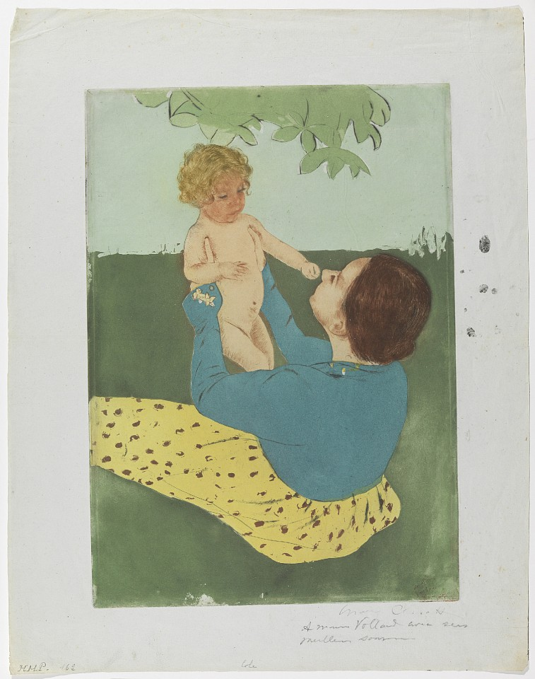Mary Cassatt ,   Under the Horse-Chestnut Tree  ,  1896-97     Drypoint and aquatint, printed in colors on paper ,  16 x 11 3/8 in. (40.6 x 28.9 cm)     MC190407