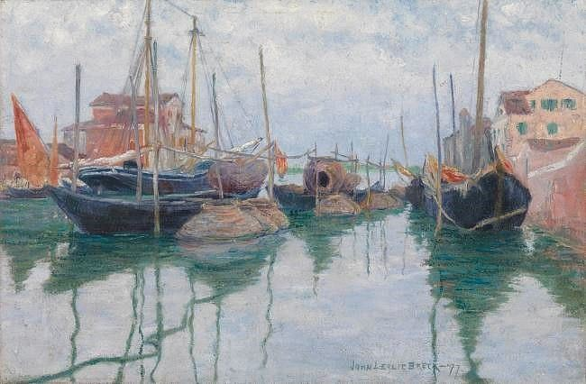 John Leslie Breck ,   Giudecca Canal, Venice  ,  1897     oil on canvas ,  12 x 18 in. (30.5 x 45.7 cm)     AG7440