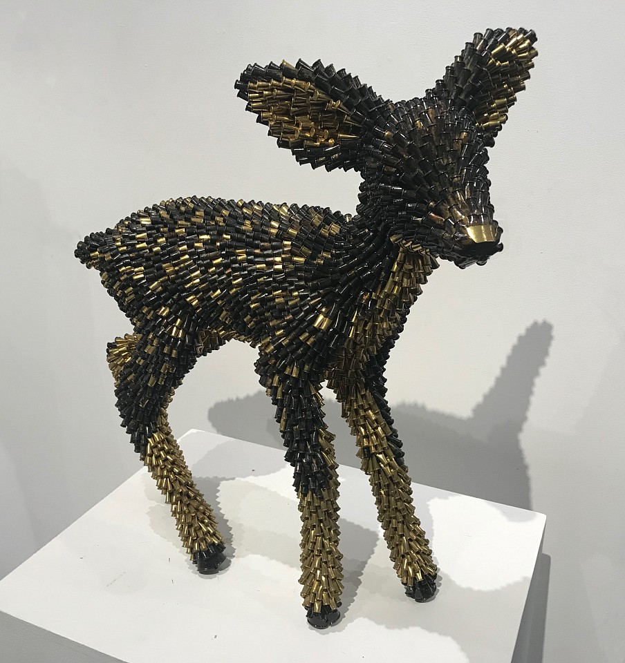 Federico Uribe ,   Baby Deer  ,  2019     Bullet Shell Collage ,  21 x 21 x 9 in. (53.3 x 53.3 x 22.9 cm)     ACPB0437