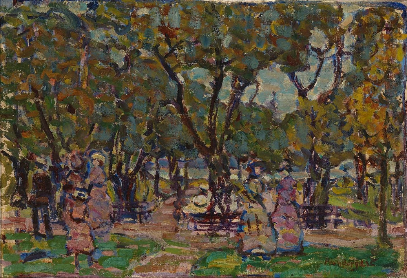 Maurice Prendergast ,   Figures under the Trees  ,  c. 1907-10     oil on canvas ,  16 1/8 x 23 1/2 in. (41 x 59.7 cm)