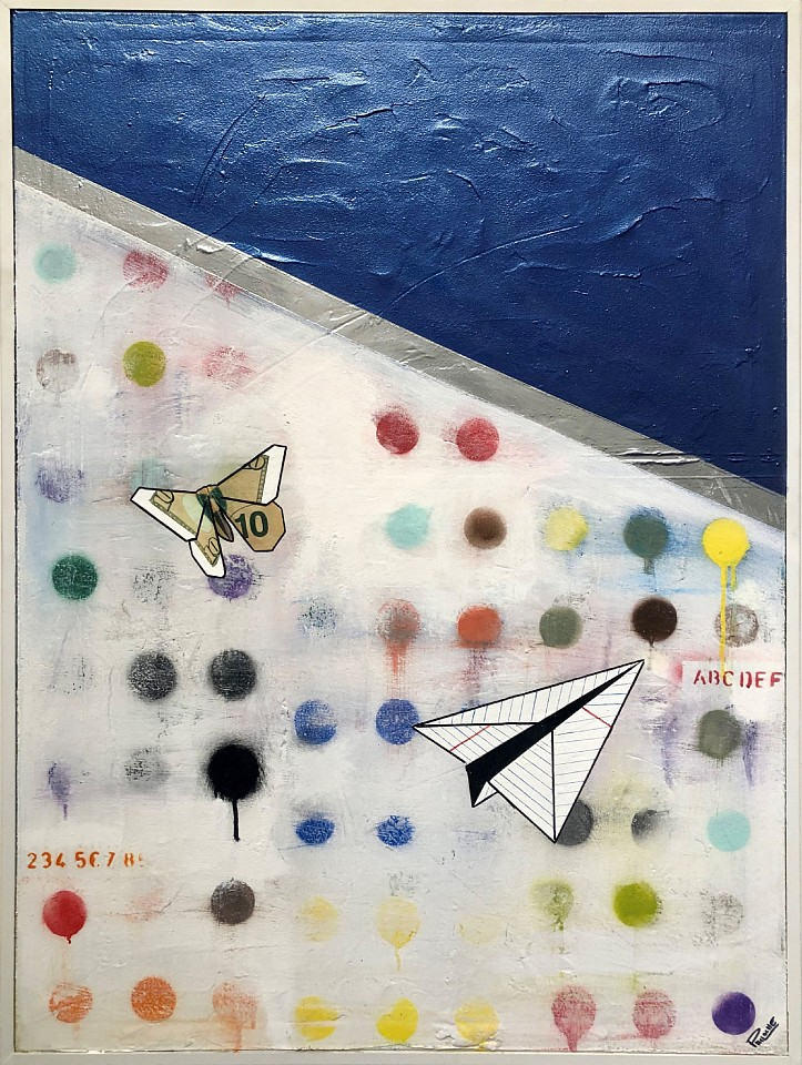 Guy Stanley Philoche ,   Metallic Blue with Paper Airplane and $10 Bill Butterfly  ,  2019     mixed media on canvas     GSP190606