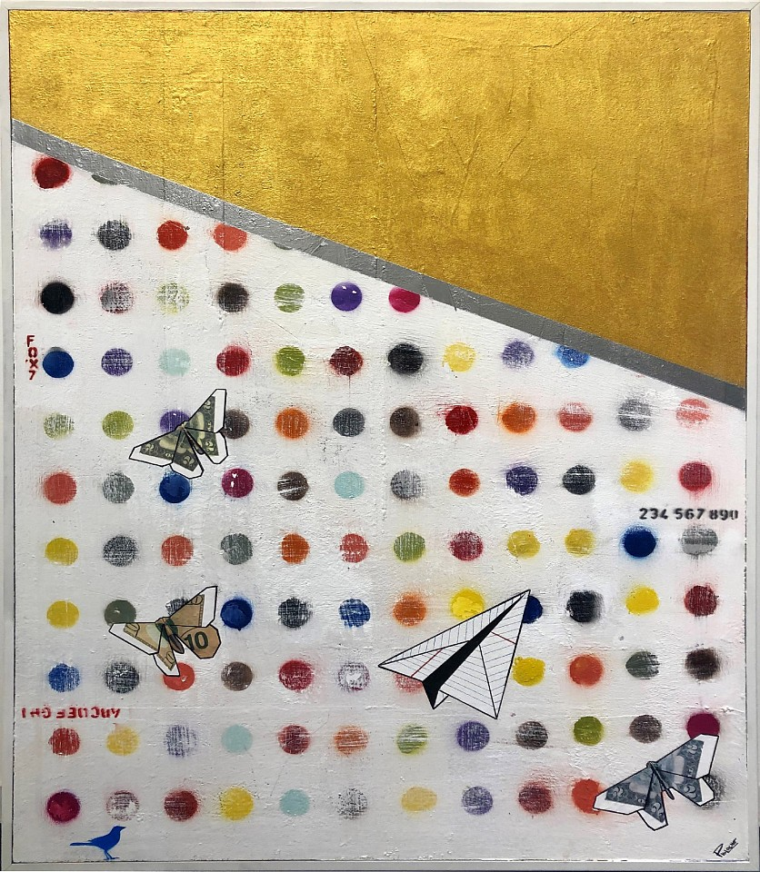 Guy Stanley Philoche ,   Metallic Gold with Paper Airplane and $10 Bill Butterfly  ,  2019     mixed media on canvas ,  60 x 48 in. (152.4 x 121.9 cm)     GSP190608