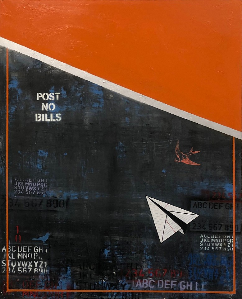 Guy Stanley Philoche ,   Orange with Paper Airplane      mixed media on canvas ,  48 x 60 in. (121.9 x 152.4 cm)     GSP190402