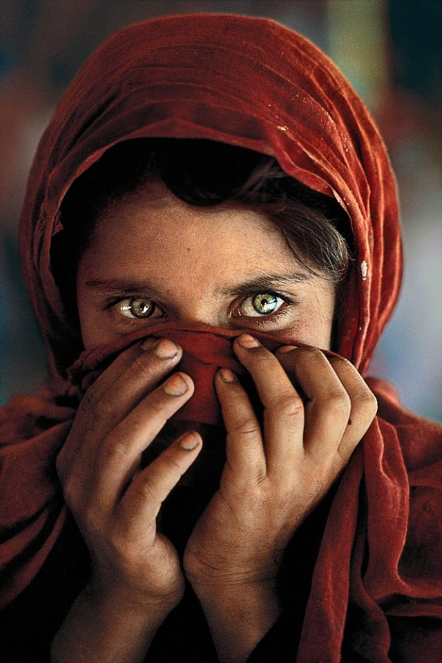 Steve McCurry ,   Afghan Girl with Hands on Face  ,  1984     FujiFlex Crystal Archive Print ,  40 x 30 in. (101.6 x 76.2 cm)     SM180401AF