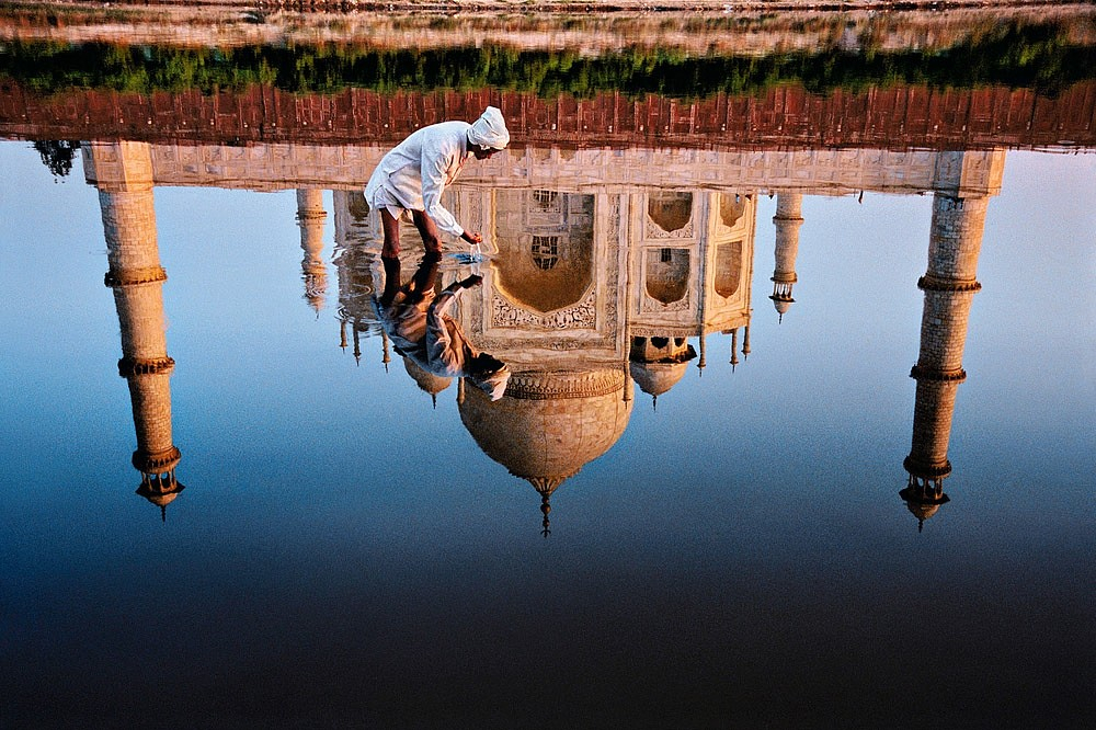 Steve McCurry ,   Man and Taj Reflection, Ed. 8/15  ,  1999     FujiFlex Crystal Archive Print ,  30 x 40 in.     INDIA-10223NF