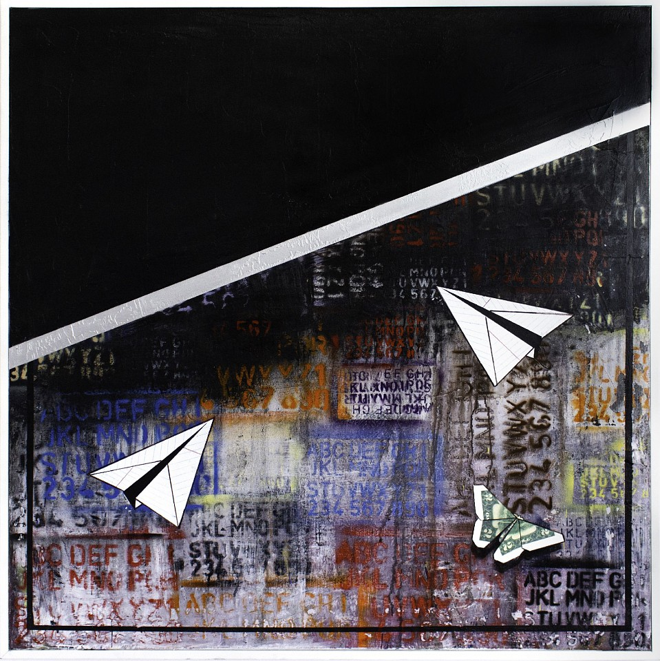 Guy Stanley Philoche ,   Black with Two Paper Airplanes, Two Dollar Bill & Butterfly  ,  2019     mixed media on canvas ,  48 x 40 in. (121.9 x 101.6 cm)     GSP191001