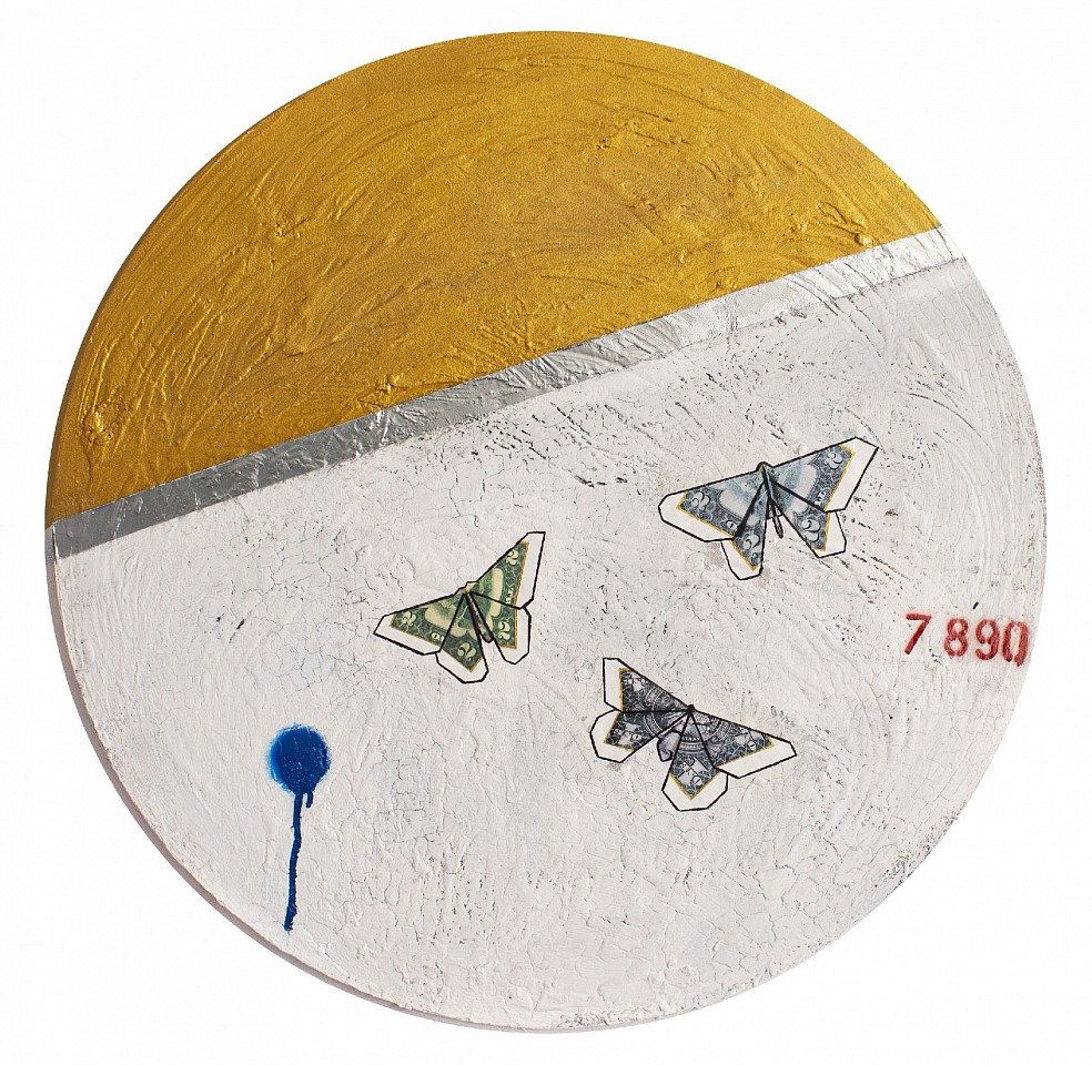 Guy Stanley Philoche ,   14 Karat Gold Paint with Three Money Butterflies  ,  2019     mixed media on canvas ,  48 in. (121.9 cm)     GSP191003