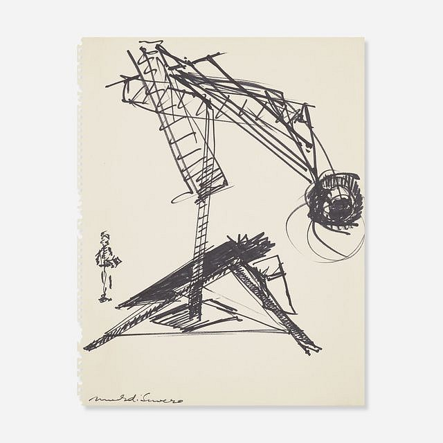 Mark di Suvero ,   Untitled  ,  c.1981     marker on paper ,  13 3/4 x 11 in. (34.9 x 27.9 cm)     MDS191101