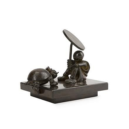 Tom Otterness ,   Girl with Turtle and Umbrella, Ed. 2/5  ,  1986     patinated bronze ,  9 x 10 1/4 x 8 in. (22.9 x 26 x 20.3 cm)     TO191101