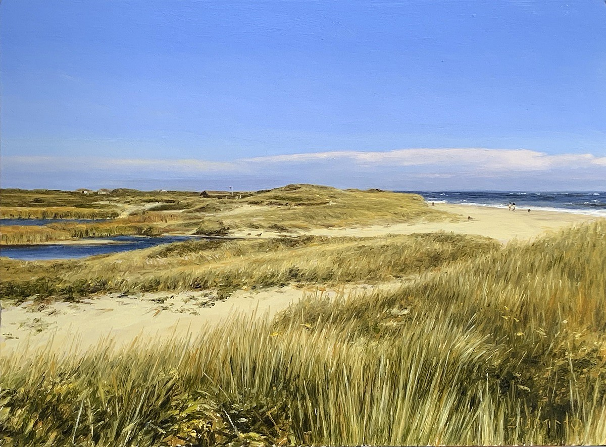 Lori Zummo ,   Miacomet Dunes  ,  2019     oil on panel ,  9 x 12 in.