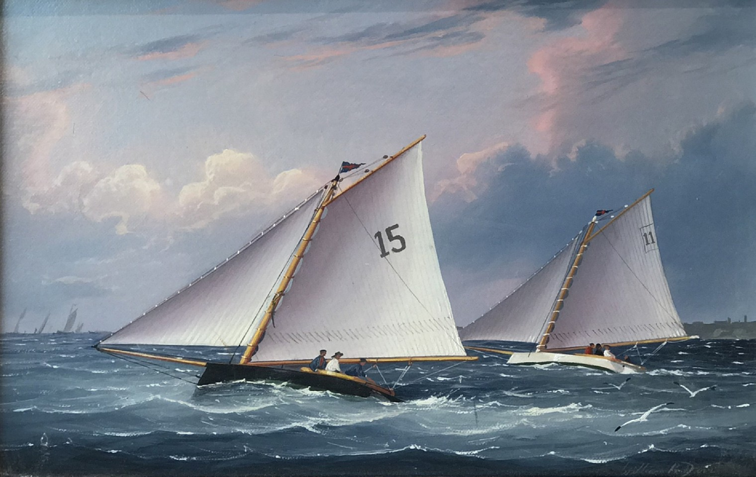 William R. Davis ,   Catboats Racing  ,  1992     oil on canvas ,  8 1/2 x 12 in. (21.6 x 30.5 cm)     WD190601