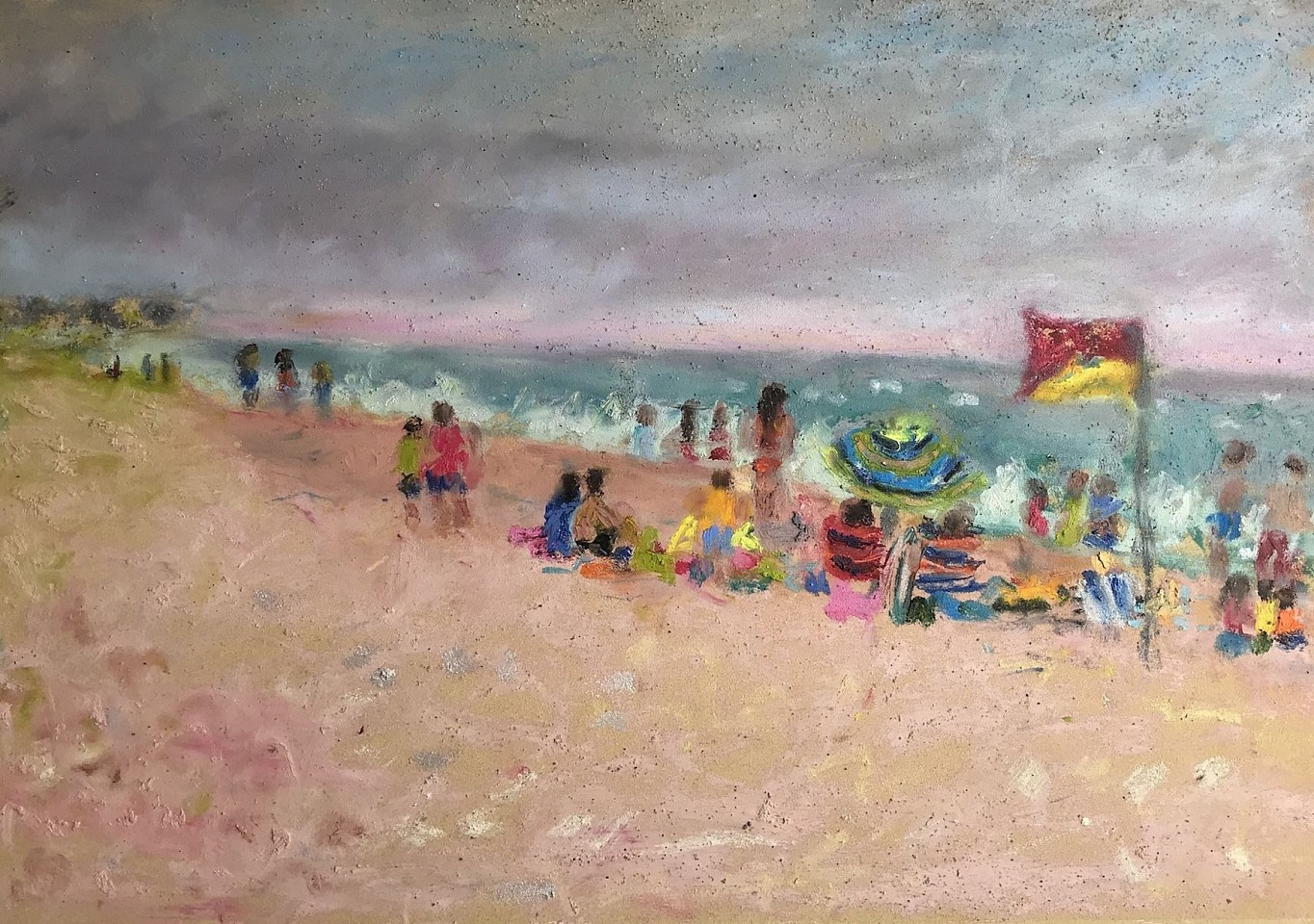 Tracy Burtz ,   Surfside Storm  ,  2019     oil stick & oil pastel ,  14 x 20 in. (35.6 x 50.8 cm)     TB191106
