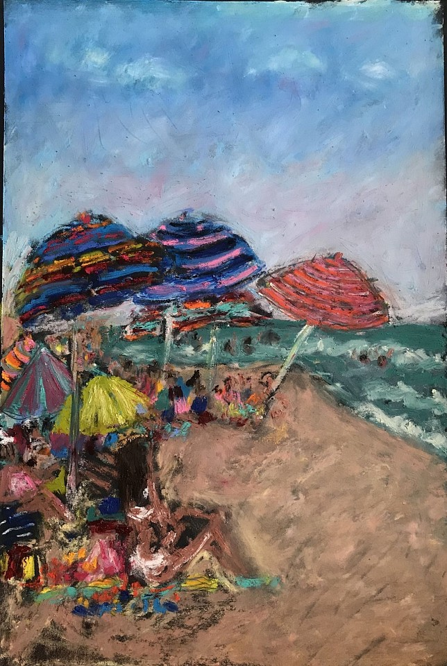 Tracy Burtz ,   Late Afternoon Lady's Beach  ,  2019     oil stick & oil pastel ,  23 x 15 in. (58.4 x 38.1 cm)     TB191103