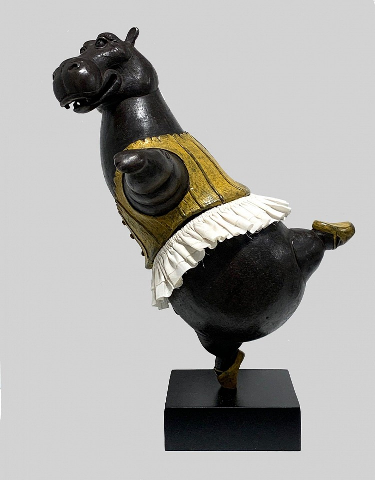 Bjorn Skaarup ,   Hippo Ballerina, pirouette, maquette, Ed. of 9  ,  2019     bronze with fabric skirt ,  11 x 8 x 8 in.     BS1912004