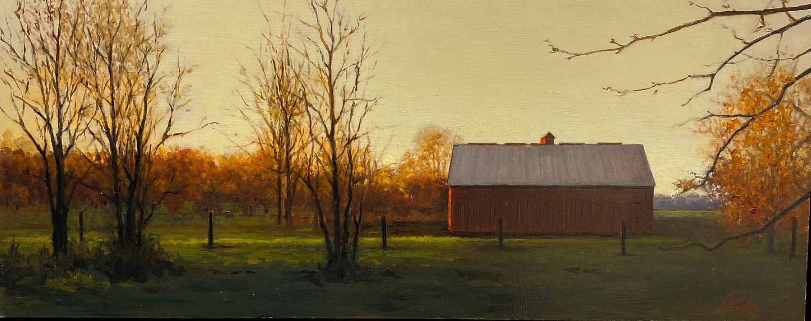 David Peikon ,   Last Light Country Road  ,  2019     oil on panel ,  9 x 24 in. (22.9 x 61 cm)     DP191104
